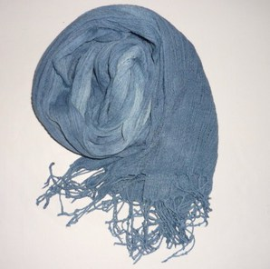 ふんわり綿のストール~薄群青色